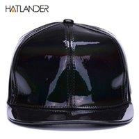 hip hop punk şapkaları toptan satış-[HATLANDER] parlayan PU düz ağız beyzbol şapkaları erkek kız için katı snapbacks kap PUNK sokak dansçı deri serin hip hop caps