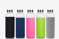 Wholesale glass jugs - 550Ml High Temperature Resistant Glass Bpa Free Sport Water Bottle With Tea Filter Infuser Heat Water Jug Protective Bag Tea Jug