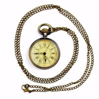 карман для старинных женщин оптовых-Shellhard 1pc Retro Pendant Necklace Pocket Watches Vintage Antique Steampunk Bronze Womens Mens Pocket Chain Necklace Watch