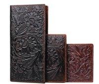 handgefertigte lange brieftaschen großhandel-Florals Printing Herrenportemonnaie Echtes Leder Herren lange Clutch Tasche Retro Handmade Clutch Geldbörse mit Münzfach Reißverschluss Reisebrieftasche