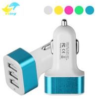 ports de voiture portables achat en gros de-Chargeur de voiture portable USB 3 couleurs aléatoires Dropshipping 12V / 24V 2.1A 1A Charge rapide Triple Ports Adaptateur de chargeur automatique
