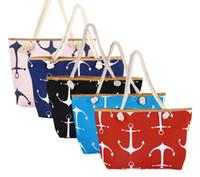 Wholesale anchor handbag women for sale - Group buy DHL Classical Women Ladies Fashion Boat Anchor Canvas Shoulder Bag Stripes New Messenger Bag Summer Beach Handbag Bags Totes NT