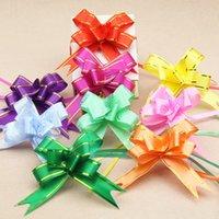 navidad tira arcos cinta al por mayor-10 unids 1.8 * 35 cm Tire Arcos Cintas Flor envoltura de regalos diseño de la boda Decoración del banquete de boda Pullbows multi color opción navidad decro