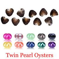 perlas de agua dulce colores al por mayor-2018 bricolaje de agua dulce gemelos de perlas en las ostras 25 colores Perlas Perlas Oyster con joyería de lujo envasado al vacío del regalo de cumpleaños para las mujeres