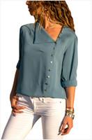 yeni tasarım gömlek tasması toptan satış-Kadınlar Yüksek Moda Bluz 2018 Yeni Varış Eğik Yaka Uzun Kollu Gömlek 7 Renkler Düzensiz Tasarım Bluzlar EUR Boyutu