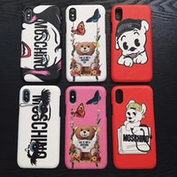 Wholesale yellow bear cases - Cute bear dog Phone case for iphone x back Cover protector for iphone 6 6s 7 7p 8 plus TPU Cases