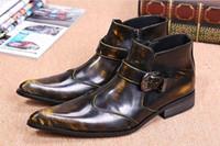 botas de estilo italiano de los hombres al por mayor-2018 Otoño Invierno Martin Booties Italian Style Boots Hombres High Top Bronce Hombres Botas Pointy Toe Botines Botas para Hombres Tamaño grande 45/46