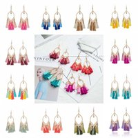 Wholesale fringe jewelry - Long Tassel Earrings Drop Leaf Earrings For Women Crystal Earring Fashion Bohemian Cotton Handmade Fringe Earings Jewelry D925S