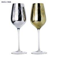 cam oyma desenleri toptan satış-Şarap cam süslemeleri altın ve gümüş kaplama bölmek desenleri düğün parti için kristal bardak şarap düğün hediyesi için