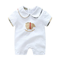 Wholesale newborn sports clothes resale online - Baby Boys Girls Rompers Newborn Infant Striped sports suits New Kids short Sleeve jumpsuit climbing clothes for children T S41