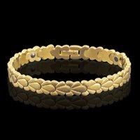 mann reines gold armband großhandel-Octbyna 2018 Gesundheit Magnetische Weizen Form Kette Armbänder für Frauen Männer Power Gold-farbe Reinem Kupfer Armbänder Armreifen Schmuck