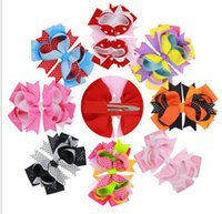 Wholesale baby hair designs for sale - Christmas baby Girls hairpins Bows Hairclips Headwear dovetail Dot Halloween Barrettes Bow children hair accessories design KKA5681