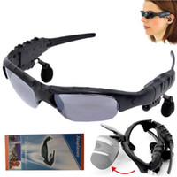 Wholesale sport mp3 player retail for sale - Sunglasses Bluetooth Headset Wireless Sports Headphones Sunglass Stereo Handsfree Earphones mp3 Music Player With Retail Package