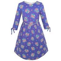festa ensolarada venda por atacado-Sunny fashion girls dress flor roxa 3/4 manga princess party dress algodão 2018 vestidos de noiva de verão roupas tamanho 4-12
