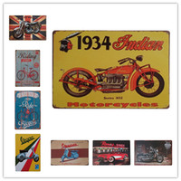 signe indien vintage achat en gros de-BSA Bicycle Riding Vespa Indian Motos Vintage métal Rétro signe Tin Art décoration murale House Café Bar Vintage En Métal artisanat