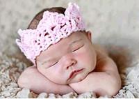 bebek örme taç toptan satış-Moda Yenidoğan Sevimli Bebek Fotoğraf Sahne El Yapımı Örme Taç Şapka Karikatür Bebek Phography Ateş Aksesuar PZ023