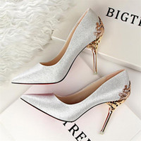 Wholesale Modest Heels - Modest Luxurious Brand Wedding Shoes Glitter Sequins Formal Party Sparkling Single Diamond Bridal High Heel Spring Newest Bridal Shoes
