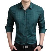рубашка с воротником polka dot оптовых-Men Slim Fit Long Sleeve Shirt Polka Dot Casual Business Shirt Tops Plus Size 5XL Mens Dress Shirts Fashion