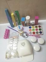 Wholesale glitter glue - HotProfessional Nail Art Kit Sets Manicure Set Nail Care System Acrylic Powder Liquid Glitter Glue Toes Separators Brush Tweezer Primer Tips