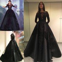 zuhair murad vestidos de noite pretos venda por atacado-Modest 2018 Zuhair Murad Formal Vestidos Celebridade À Noite Com Overskirts Train Black Lace Longo Manga Árabe Dubai Moda Prom Party Vestidos