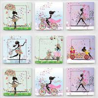 güzel kız duvar çıkartmaları toptan satış-2 adet Güzel Kız Kelebek Çiçek Anahtarı Sticker Sanat Duvar Sticker Ev Dekorasyonu Çocuk Odası Kreş Ev Dekorasyon Çıkartmaları