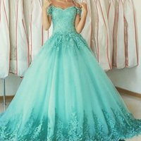 Wholesale china bandage dress - Vintage Mint Green Long Prom Dresses 2018 V Neck Cap Sleeves Bandage Lace Quinceanera Gowns Sweet 16 Dress From China