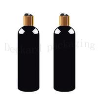 Wholesale pet plastic packaging - 20pcs lot 500ml black empty plastic shampoo bottles with caps DIY lotion PET Bottle With Gold Cap,transparent cosmetic packaging
