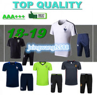 Wholesale new belgium - new 2018 FRANCE short sleeve training suit 16 17 18 Belgium portugal Germany tracksuit T shirt spain soccer jerseys chandal maillot de foot