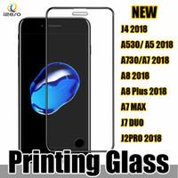 3d baskı ekranı toptan satış-Ipek Baskı Temperli Cam 9 H 0.3mm 2.5D Kavisli Tam Kapalı Ekran Koruyucu Samsung J7 Duo J7 MAX J6 2018 Huawei için