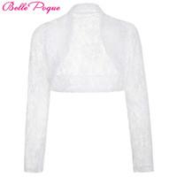 Wholesale Wholesale Long Sleeve Shrugs - Belle Poque Women Jacket 2017 Casual Long Sleeve Cropped Shrug White Black Lace Wedding Boleros Laides Coats Outerwear Clothing