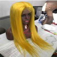 ingrosso parrucca marrone giallo-Parrucche piene gialle diritte dei capelli umani del pizzo delle parrucche diritte gialle dei capelli umani per le donne
