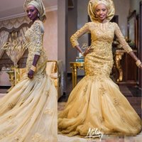 Wholesale high collar quarter sleeve - 2017 Arabic Mermaid Gold Lace Wedding Dresses African Nigerian Appliques Three Quarter Sleeves Bridal Gowns With Tulle Wrap Vestidos