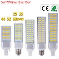 lámpara led horizontal al por mayor-Bombillas LED G24 5W 7W 9W 12W 15W 15W E27 Bombilla LED de maíz Lámpara SMD 5050 Proyector 180 grados Luz de enchufe horizontal AC85-265V