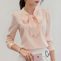 herbst mode weiblichen koreanischen kleidung großhandel-neue Frauen Bluse weiß rosa Sommer Herbst koreanische Mode elegante Arbeit, coole Langarm Tops weibliche Kleidung zu tragen