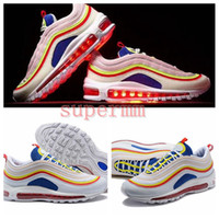 Wholesale colorful sneakers for women - 2018 New Arrival 97 Summer Viber Colorful Running Shoes for Women Mens Trainers 97s OG Ultra SE 3M Rainbow Bullet Brand Designer Sneakers