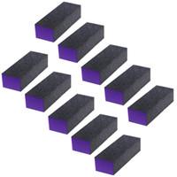 ingrosso tamponi di chiodo viola-10 Pz 3 lati Nero Viola Buffer Buffing Levigatura Block File Grit Nail Art Tool Set