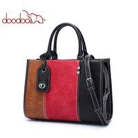 akıllı çanta toptan satış-DOODOO Kadın Omuz Çantası PU Deri kadın Colorblock çanta Bağbozumu Messenger Çanta Akıllı anti-kayıp Crossbody Çanta