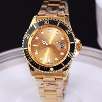Wholesale complete couples - high quality rose gold watches men luxury brand mens designer automatic calendar leather belts strap stainless steel clock for couple