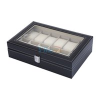 Wholesale File Box Storage Organizer - China leather file case Suppliers 10 Grids Watch Box Glass Top Display Jewelry Storage Organizer PU Leather Watch Display Case Showing