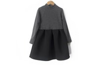 Wholesale teenagers girl dresses online - 4 to years Girls winter Mosaic dresses baby children long sleeve warm clothes kids teenager boutique clothing R1AI506DS