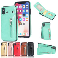 Wholesale flip phone holder - PU Flip Leather Case For iPhone X 8 Plus Multi Card Holders Case Cover For Samsung s8 s9 Zipper Wallet Phone Shells