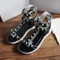 sandalias italianas mujeres al por mayor-2019 5 colores top moda mujer diseñador zapato sin título tacos fiesta sandalias italiano de lujo del zapato de verano gladiador al aire libre sandalia