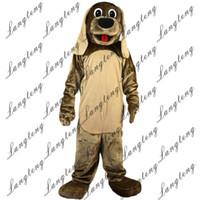 kahverengi köpek kıyafetleri toptan satış-2018 Yeni yüksek kalite Kahverengi köpek Maskot kostümleri yetişkinler için sirk noel Cadılar Bayramı Kıyafet Fantezi Elbise Suit Ücretsiz Shipping023
