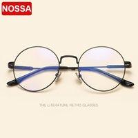 korece gözlük modeli toptan satış-NOSSA Yeni retro yuvarlak gözlük çerçevesi Kore sanat metal yuvarlak düz ayna erkek ve Kız modelleri modifiye yüz moda gözlük çerçevesi.