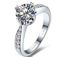 schicke sterling silber ringe großhandel-Virginia Akzent Fancy Female Ring 1Ct 6,5 mm Rundschnitt G-H Moissanite Ring 925 Sterling Silber Ring Top Qualität