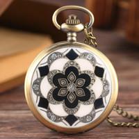 Wholesale white jade antique - Retro White Jade Crystal Quartz Big Pocket Watch Necklace Pendant Chain Mens Gift Relogio De Bolso