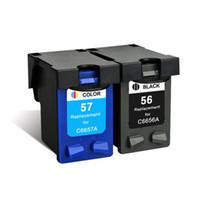 tintas hp al por mayor-Reemplazo de 2PK para HP 56 56XL 57 57XL Cartucho de tinta Deskjet 5550 9680 450ci 450cbi 5652 9600 9650 Impresora Inkjet Fullfill Ink