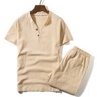 camisetas iluminadas al por mayor-Camisetas + Pantalones cortos Camiseta de la marca del verano Hombres luz respirable Casual Beach Set S-5XL 2018 Trajes de la camiseta Trajes de moda masculina Hombres 2PCS