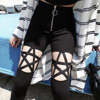 nova roupa punk venda por atacado-Nova Moda Punk Gótico Mulheres Calças Leggings Oco Out Cinco-Pontas Estrela Roupas Femininas