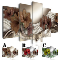 Wholesale multi picture digital frame resale online - No Frame Wall Picture Printed Canvas Painting Spray Painting Home Decor Extra Mirror Border Abstract Brown Red Green Lily